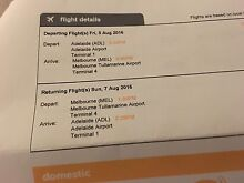 2 tickets Adelaide to Melbourne return Seaford Meadows Morphett Vale Area Preview