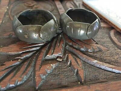 Antique AE Chanal Water Lilly Double Open Salt Art Nouveau French Pewter Stamped