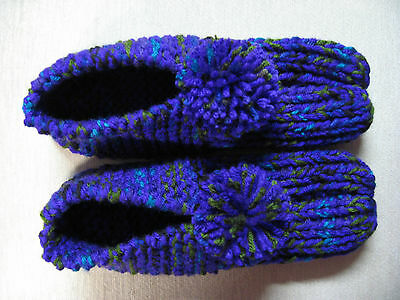 New Amish Handmade Slippers Purple Mix Womans Med/Lg Mans Sm/Med 9 1/4""