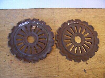 2 Vintage Cast Iron Ih Planter Plates 3398a International Harvester Lot C