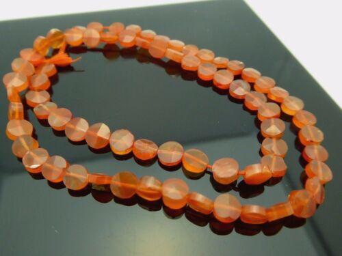 "Natural Orange Carnelian Faceted Coin Shape 5-6mm Gemstone Bead 14"" Strand"