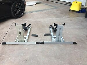 Pair motorcycle stanchions for bike trailer