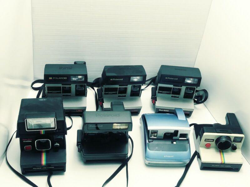 Lot of 7 Vintage Polaroid Instant Film Cameras