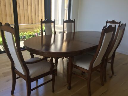 Dining table and chairs - solid wood in great condition