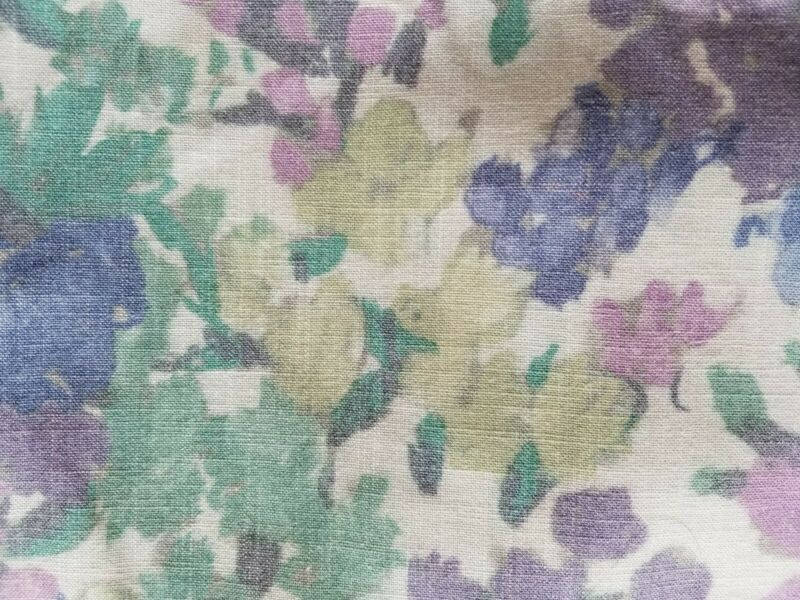 < 1 YD Vintage Linen Ivory Blue Jade Purple Sewing Quilt Craft Fabric
