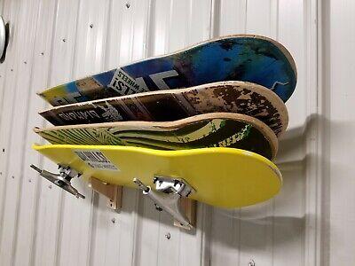 Skateboard deck wall mount display rack holds 4 decks longboard penny hanger