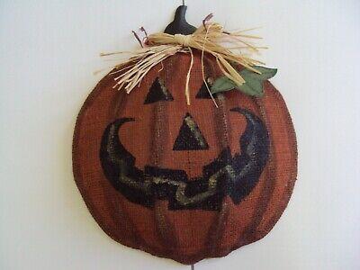 Vintage Burlap Rafia Halloween Pumpkin Jack O Lantern Wall Hanging