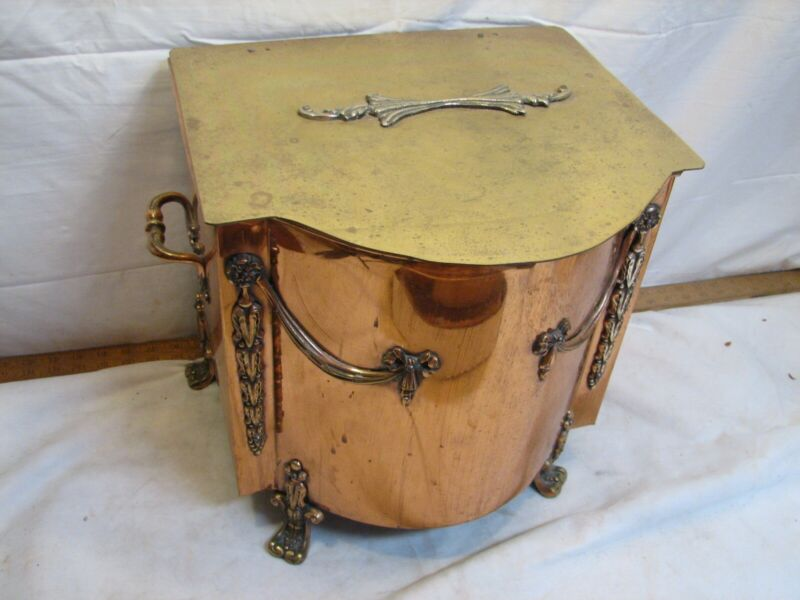 Vintage Copper Victorian Footed Firewood Fireplace Ash Box Container Lidded