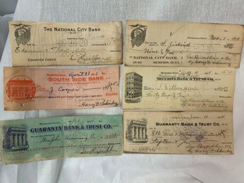 6 Different 1919-1924 Memphis, TN Bank Checks