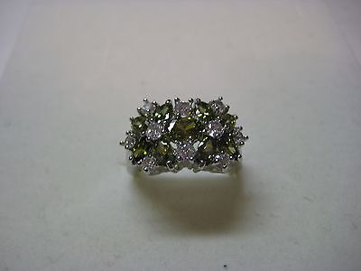 Silver Ring with 6.40ct Created Olive Green & White Sapphire - Created Green Sapphire Ring