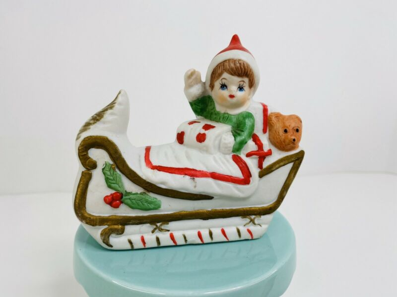 Vintage Porcelian Boy In Sleigh W Bear Christmas Decor 032