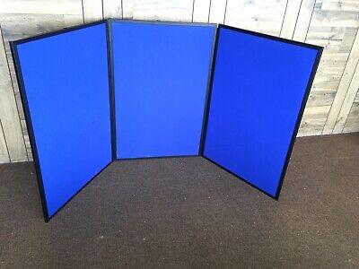 Nobo  Showboard 3 Panel Front Back  Blue Both Sides  3 Tall 6 Long