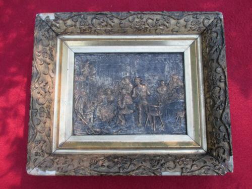 Antique Framed Brass  Bas Relief of 17th Century Tavern Scene.