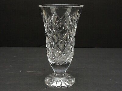 Signed Waterford Clear Cut Crystal Glass Vase 7
