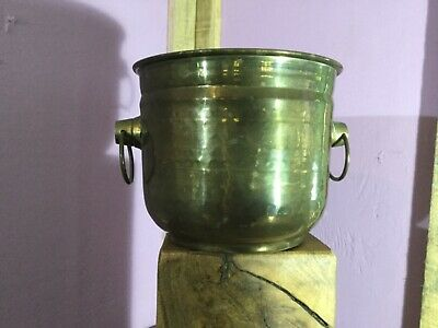 Vintage Brass Pot. Wine Bottle Coaster. Quality. Small Planter Plant Pot