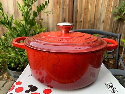 Le Creuset Mickey Mouse Cerise Red Cast Iron Dutch Oven 4.5 Qt 24 New
