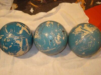 "Set of 3 Duckpin Bowling Balls Blue/white Swirl approx 4 7/8"" 3 6 1/2"