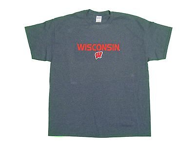 WISCONSIN BADGERS ADULT DARK GREY EMBROIDERED SHORT SLEEVE T-SHIRT SM-5XL NWT#