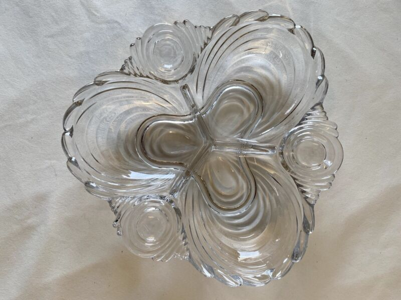 Vintage Swirl Pattern 3 Section Relish / Candy / Nut Dish - Heavy Clear Glass
