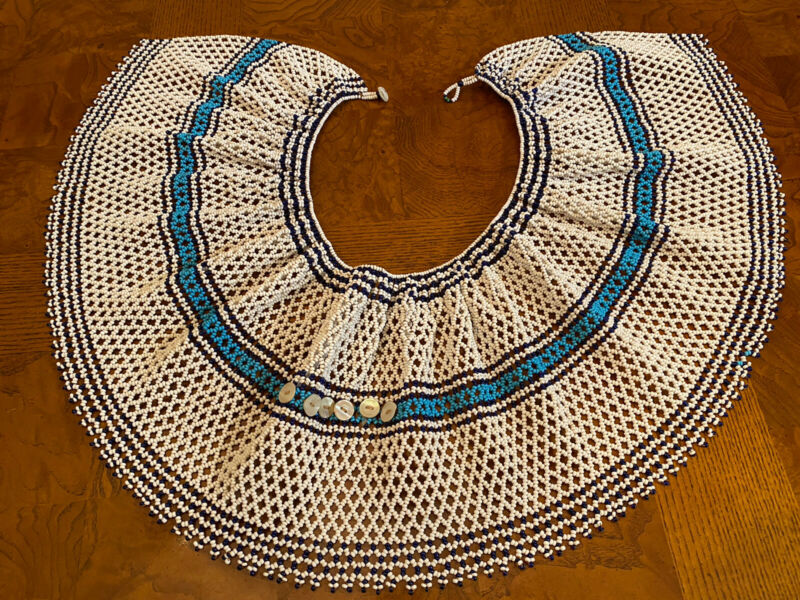 African Tribal Handmade Beaded Choker Collar Bib Necklace White and Blue