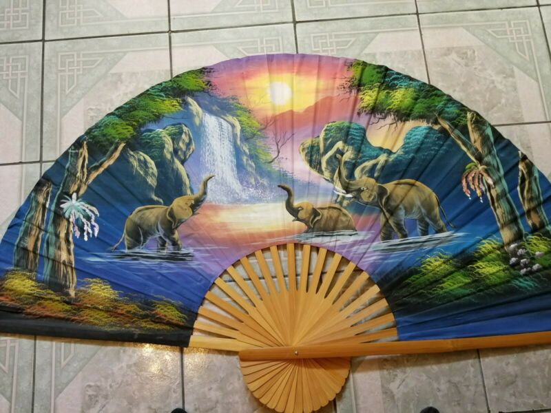 Big Hand Fan hand-painted Elephants