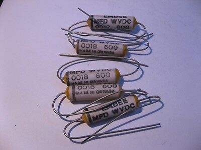 Banke Ceramic Shell Capacitor .0018uf 600vdc 0.0018 - Nos Qty 5