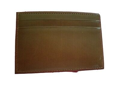 New COACH Brown Leather Men's Credit Card Holder Wallet Flat Slim nwt -