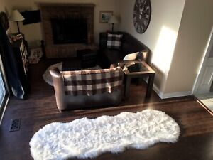 Brown Condo Size Sofa and Loveseat