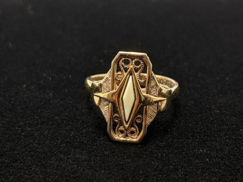 Gold Tone Vintage Style Cream Art Deco Ring Size 5.5