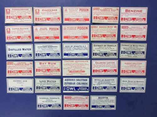 56+OLD OWL DRUG PHARMACY-MEDICINE BOTTLE LABELS VINTAGE EPHEMERA LOT==