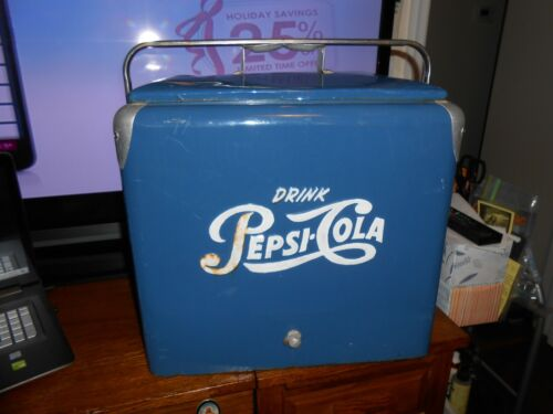 1950s PEPSI-COLA COOLER GOOD USED CONDITION VERY HEAVY WITH FREE SHIPPING LOOK!!