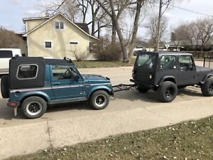 Jeep YJ with V8 350. And Suzuki samurai with tow bar