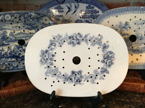 Antique English Platter Drainer Staffordshire Blue Transferware MINTON c1862
