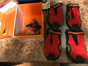 Ruff wear xxl dog booties in red - grip trex