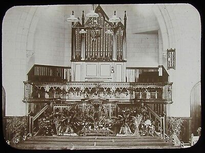 Glass Magic Lantern Slide ST COLUMB MINOR CHAPEL INTERIOR C1890 PHOTO CORNWALL