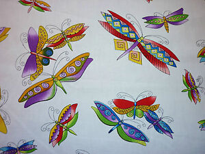 CLEARANCE YARD FQ BRIGHT DRAGONFLY DRAGONFLIES BUTTERFLY BUTTERFLIES FABRIC