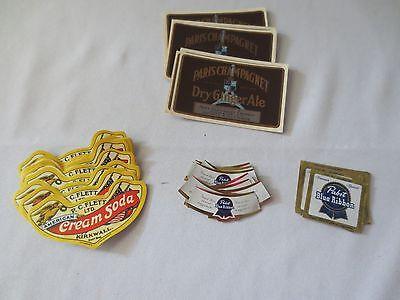 Vtg 1950's Drink Labels Cream Soda, Dry Ginger Ale & Pabst Blue Ribbon 50+ - Drink Labels