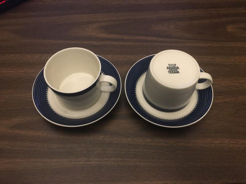 Kaj Franck Vintage Blue White Teema 2 Cups 2 Saucers Iittala Arabia Finland Set