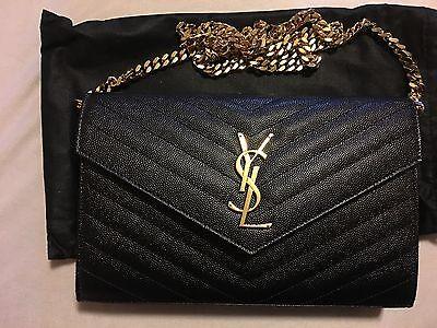 Saint Laurent Monogram Matelassé Leather Wallet-on-Chain