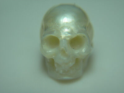 rare CARVED SKULL Freshwater Pearl Natural Drilled carving genuine 12mm