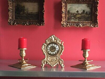 Vintage Splendex West Germany Metal Carriage Clock & Brass Candle Stick
