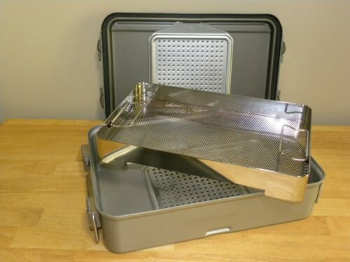 "V Mueller Genesis CD2-5B Sterilization Case with Basket 19"" x 12"" x 5"""