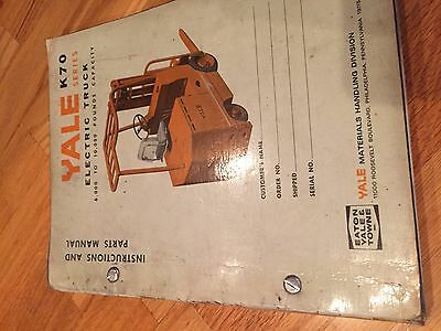 Yale K70 Electric Forklift Parts Catalog Instruction Manual