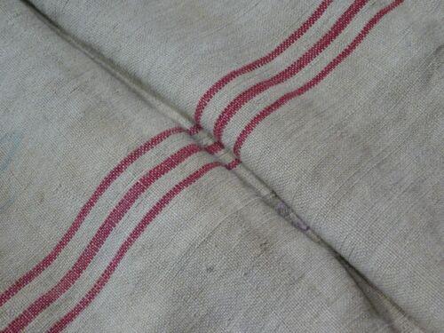 Antique European Feed Sack GRAIN SACK Red Stripe # 9494