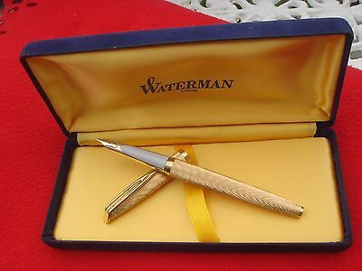 WATERMAN C/F GOLD PLAQUE MOIRE OR G FRANCEPARIS BOX WATERMAN 14CT BROAD GOLD NIB