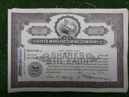 Colt Firearms Stock Certificate
