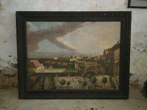 Ansicht-italienische-Stadt-um-1930-Ol-auf-Leinwand