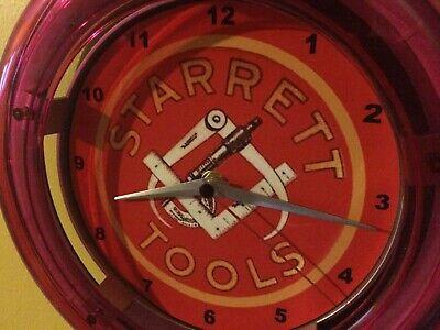 Starrett Toolmaker Calipers Micrometer Advertising Man Cave Neon Wall Clock Sign