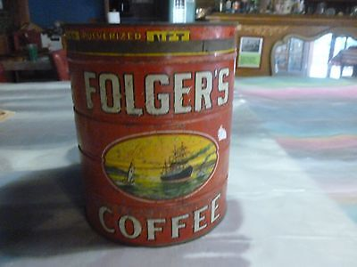1940's Folger's Coffee 5 lb. Adv. Tin