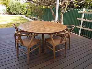 Teak 6 seater outdoor dining table and chairs Wembley Cambridge Area Preview